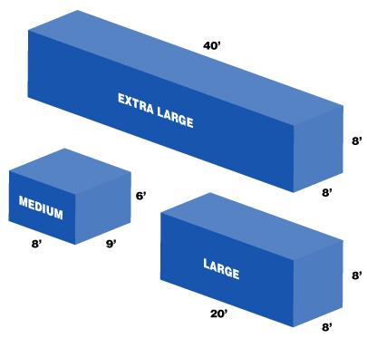 Sizes of Midland container storage